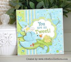 Cute blue bird card to celebrate the spring flowers' arrival.  FQB - Spring Breeze Collection