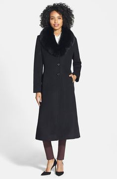 SACHI Genuine Fox Fur Collar Long Wool Blend Coat (Regular & Petite) available at #Nordstrom