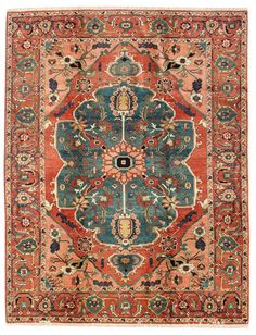 Geometric Oriental Rugs Gallery: Persian Heriz Rug, Hand-woven in Persia; size: 6 feet 9 inch(es) x 9 feet 0 inch(es)