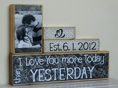 Photo block with romantic words