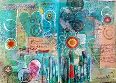 Beautiful turqooise art journal with circles, hearts and flower. Love it!