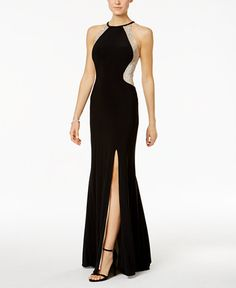 Xscape Sequined Illusion Halter Gown