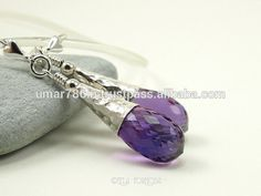 Natural Briolette Amethyst Silver Earring