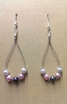 Guitar String Earrings with added Pearl Beads