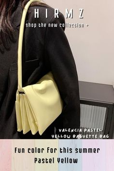 A go-to accessory for the season, this Valencia new style strappy pastel baguette shoulder bag in a baby yellow hue, scaled-down, slightly slouchy, and imbued with light pastel color, this colorful charming handbag has all the makings of a future favorite. Make it perfectly sized to transition from day to night with ease trendy ath-flow fashion style. #mustardyellowpurse #yellowshoulderbag #yellowpocketbook #cutepurse #shoulderbagsforwomen Trendy Purses, Trendy Handbags, Unique Purses, Baby Yellow, Pastel Yellow, Aesthetic Fashion, Look Fashion, Cute Crossbody Purses, Yellow Shoulder Bags