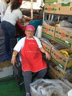 Mom getting ready to peel 16 cases of bananas for the Banana Donuts at PIFA 2015 in San Diego.