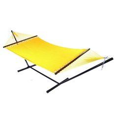 Sunnydaze Large 2-Person Rope Hammock with Spreader Bar & Hammock Stand (Yellow) (Polyester) #Sunnydaze Decor, Patio Furniture