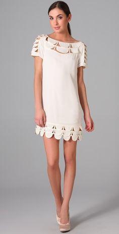 Temperley London Mini Oriel Dress. Short, white  and scalloped