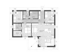 Modernes Fertighaus ELK Bungalow 112 mit Walmdach - ELK Fertighaus | HausbauDirekt.de Town Country Haus, Living Haus, House Layouts, Floor Plans, How To Plan, Bungalows, Houses, House Architecture, Modern Prefab Homes