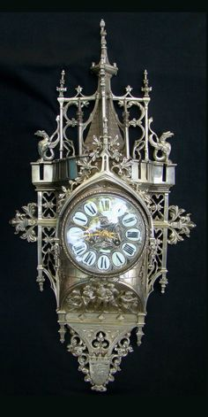 Ornate Antique French Gothic Style Cartel Clock