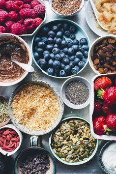 Some of our favorite super foods. #ispy blueberries, flax seeds, chia seeds, pumpkin seeds.