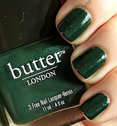 Celebrate St. Patty's with safe nail polish:  Butter London's British Racing Green is Formaldehyde, Toluene, DBP, phthalate, and paraben free!  And, one wicked shade.