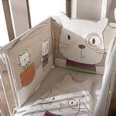 tour de lit bébé chat Tour de lit bébé collection bio NICHEO BLANC CASSE   vertbaudet  tour de lit bébé chat