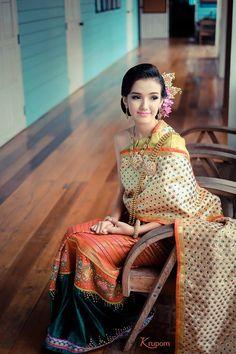 """Thai-Lanna, """"Pa Sin Tin Jok"""" Hand Loomed Embroidery"""