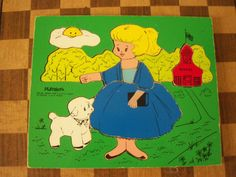 Vintage Playskool Wooden Puzzle Mary Had a Little Lamb 1960s