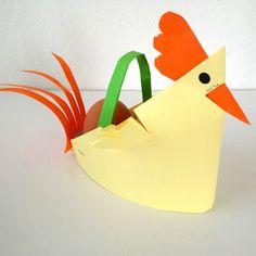 schaeresteipapier: Ostern - 2. Bastelidee mit Papier, Hühner-Korb