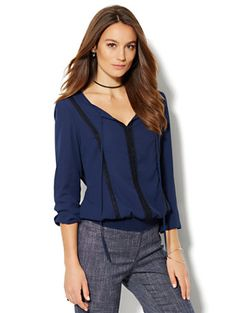 Shop Lace-Trim Peasant Blouse . Find your perfect size online at the best price at New York & Company.