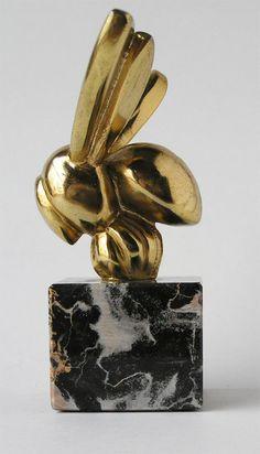 Car Hood Ornament Art Deco Bronze Honey Bee on Marble