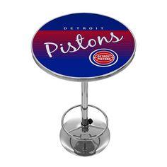 Detroit Pistons Hardwood Classics Chrome Pub Table, Multicolor