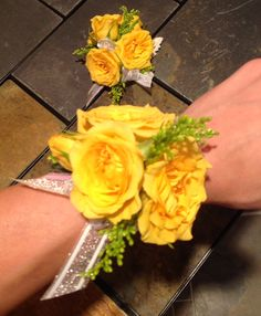 Wrist Corsages - Yellow Mini Garden Spray Roses with Solidaster Accents