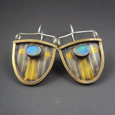 Shield Earrings with Opal and Keum-Boo by Dana Evans Studio. American Made. See the designer's work at the 2015 American Made Show, Washington DC. January 16-19, 2015. americanmadeshow.com #earrings, #jewelry, #opal, #keumboo, #americanmade