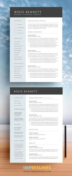 "Elegant and sophisticated, The ""ROSIE"" resume template package for MS Word includes a two-page résumé, cover letter, extra icons, re. Cv Simple, Simple Resume, Creative Resume, Basic Resume, Visual Resume, Resume Layout, Job Resume, Resume Tips, Resume Help"