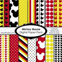 Mickey Mouse - Digital Paper Pack - Scrapbook Pages - 12x12 in and 8.5x11 in
