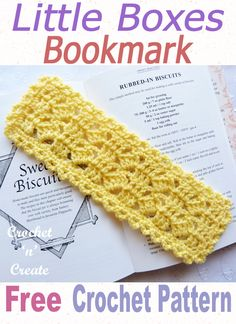 Little Boxes Crochet Bookmark - No need to keep turning them page corners down, use this pretty bookmark to mark your place, it also makes a lovely handmade gift for friends and family. Crochet Bookmarks, Crochet Books, Crochet Yarn, Easy Crochet, Crochet Stitches, Free Crochet, Paperclip Bookmarks, Dishcloth Crochet, Crochet Things