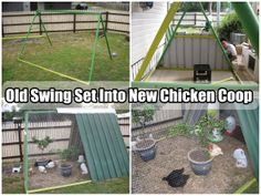 Diy Projects: Old Swing Set Into New Chicken Coop