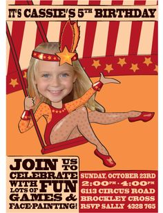 Circus Birthday Party Invitation with your photo
