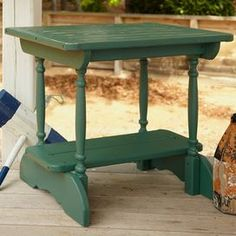 """From leisurely al fresco luncheons to festive springtime soirees, this handsomely crafted design transforms your deck or three season porch into a well-appointed retreat.   Product: Side tableConstruction Material: Wood    Color: Green    Features: Distressed finishDimensions: 23.5"""" H x 25.5"""" W x 23.5"""" DShipping: This item ships small parcelExpected Arrival Date: Between 05/09/2013 and 05/17/2013Return Policy: This item is final sale and cannot be returned"""