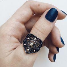 oxidized silver ring. boho jewelry style