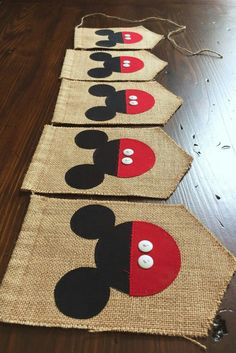 Mickey Mouse burlap pennants