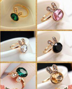 Fashion Women Delicate Emerald Gem Rhinestone Rabbit Ring Jewelry Finger Gift Emerald Gem, Fashion Women, Rabbit, Finger, Headphones, Fashion Jewelry, Gemstone Rings, Delicate, Gemstones