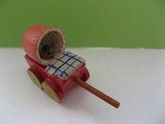 Erzgebirge miniature wooden pram; vintage, handmade, handpainted