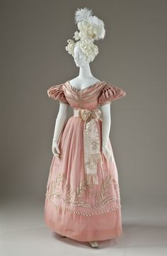 England, circa 1830 Costumes; principal attire (entire body) Silk plain weave (organza) and silk satin with imitation-pearl glass beads Center back length: 48 in. (121.92 cm)