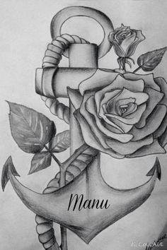 Ancora art, tattoo rose