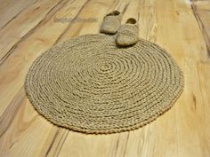 Cottage Rug Round Area Rug Handmade Natural Jute by MagicByCrochet