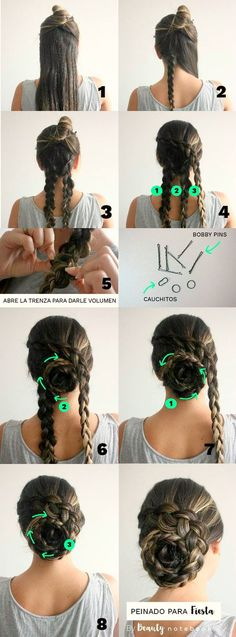 Peinado para fiesta en 5 minutos - Recogido fácil con trenzas