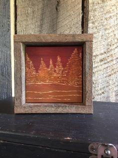 Autumn Forest Art, Rustic Home Decor, Rust Orange Decor, Fall Decor, Thanksgiving, Cabin, Lodge, Wall Art, Shelf Art, Hand Engraved Wood