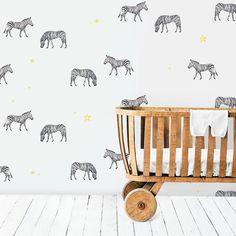 Zebras and ✨! Creative Labs, Black And White Wallpaper, Kids Wallpaper, Kidsroom, Zebras, Zebra Print, Amsterdam, Interior Design, Stars