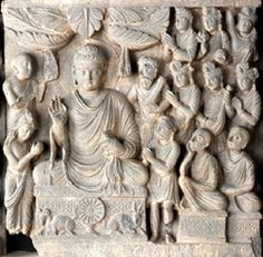 First Sermon - Life of the Buddha  Pakistan (ancient Gandhara)  late second early third century  stone