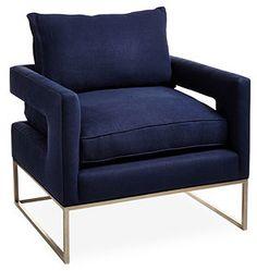 Bevin Linen Chair, Indigo