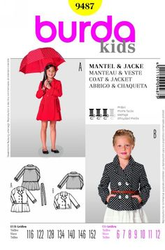 d25f699fbe5c Burda Style Kids B9487  Coat  amp  Jacket Double-breasted coat and jacket.