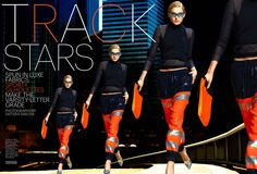 """【3600px×2447px 】Sporty Silhouettes! """"Track Stars"""" by Marie Claire US August 2013."""