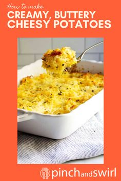 Easy Cheesy Potatoes are easy to make from scratch! This decadent casserole is baked in the oven and makes the perfect side for get togethers with family and friends and holidays too! No canned soup or frozen hash browns required! Easy Summer Meals, Healthy Summer Recipes, Quick Healthy Meals, Vegetarian Recipes, Cheesy Potato Casserole, Cheesy Potatoes, Potluck Side Dishes, Side Dishes Easy, Easy Thanksgiving Recipes