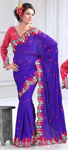 $79.3 Blue Faux Georgette Cut and Resham Work  Saree 24087