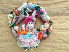 Easter wreath.Easter decor.Easter bunny decoration.Easter bunny and carrots wreath. Shabby Spring wreath.Country wreath.Cottage chic wreath. by VintageShopCreations on Etsy