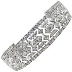 Preowned Tiffany & Co Art Deco Diamond Bracelet ($87,000) ❤ liked on Polyvore featuring jewelry, bracelets, multiple, diamond bangles, art deco jewelry, diamond jewelry, art deco inspired jewelry and preowned jewelry