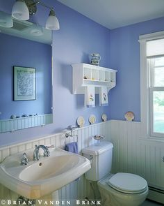 My favorite color. Beadboard bathroom in periwinkle. periwinkle is a color you need more of in your life. Bathroom Niche, Small Bathroom, Bathroom Beadboard, Bathroom Ideas, Periwinkle Room, Room Colors, Paint Colors, Wall Colours, Interior Exterior